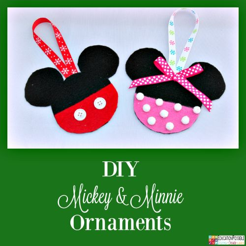 5 Homemade Christmas Ornaments Teens will want to Make - Mickey Mouse & Minnie Mouse Felt Ornament  5 Homemade Christmas Ornaments Teens will want to Make. This season, add these to your ornament collection – they're all teen friendly, cost effective and will take little time to complete. DIY crafts - a great idea for gifts your middle school kids can create.