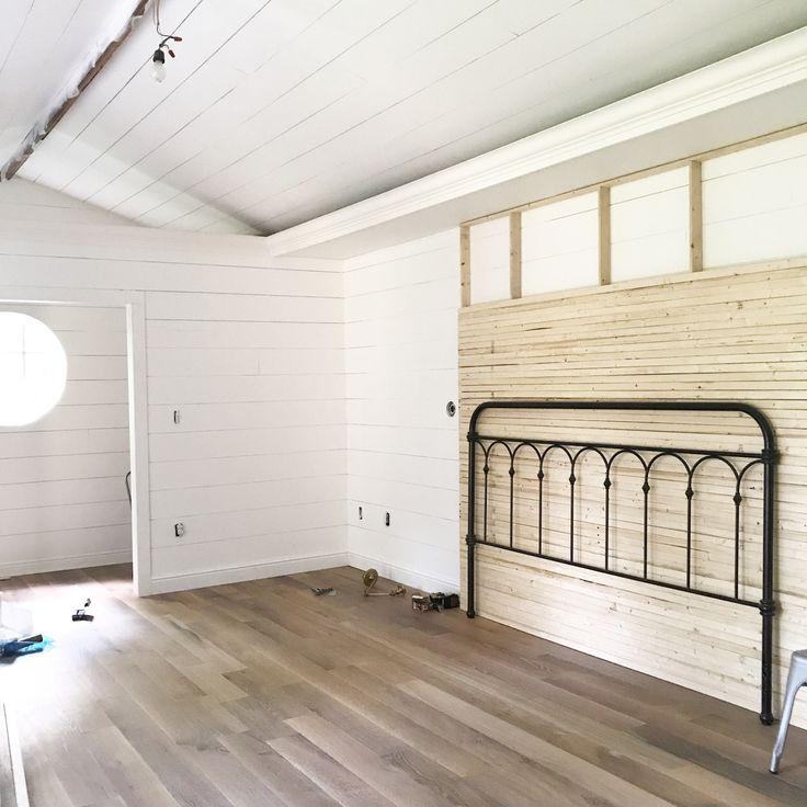 I recently shiplapped our entire master bedroom…walls & ceiling. Since finishing that I've been really drawn to natural wood & the look of skinny lap walls. I knew I didn'…