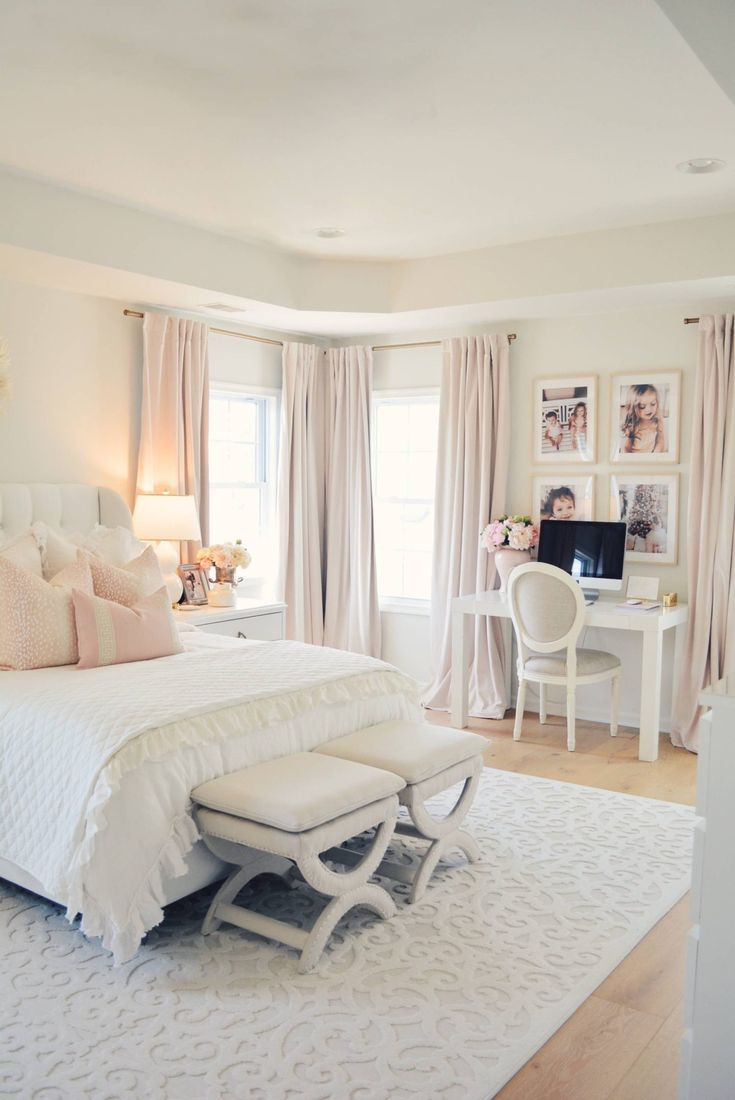 Elegant White Master Bedroom Blush Decorative Pillows The Pink Dream White Master Bedroom Master Bedroom Makeover Home Decor Bedroom