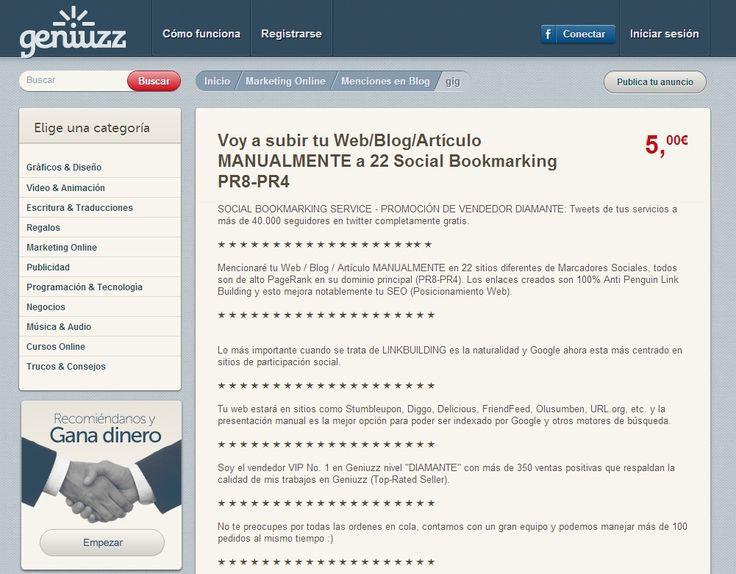 SOCIAL BOOKMARKING SERVICE - PROMOCIÓN DE VENDEDOR DIAMANTE http://www.geniuzz.com/bros/voy-a-subir-tu-web-blog-manualmente-a-25-social-bookmarking-pr8-pr4-11822#&panel1-1