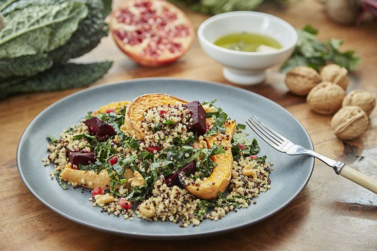 Kale and Quinoa Salad with Roasted Winter Vegetables from the United States. Get cooking!