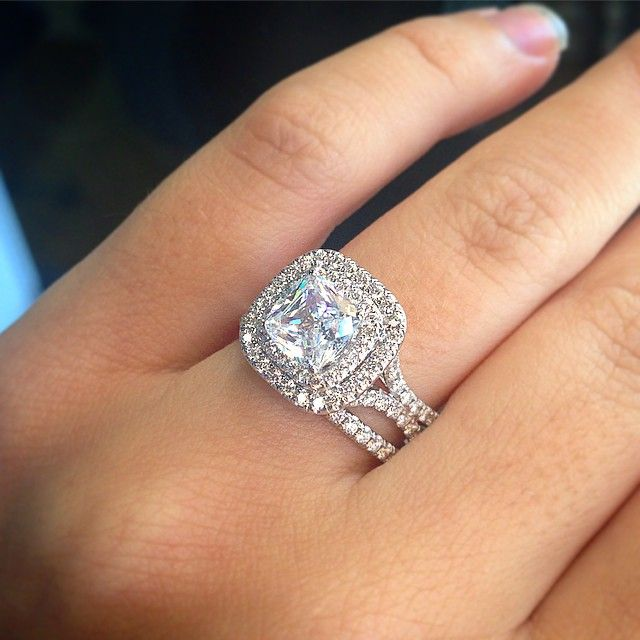Uneek double halo engagement ring