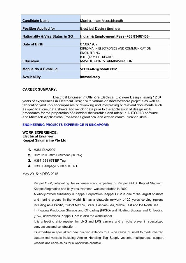 Electrical Engineer Resume Sample Awesome Electrical Design Engineer Resume In 2020 Job Resume Examples Education Resume Engineering Design