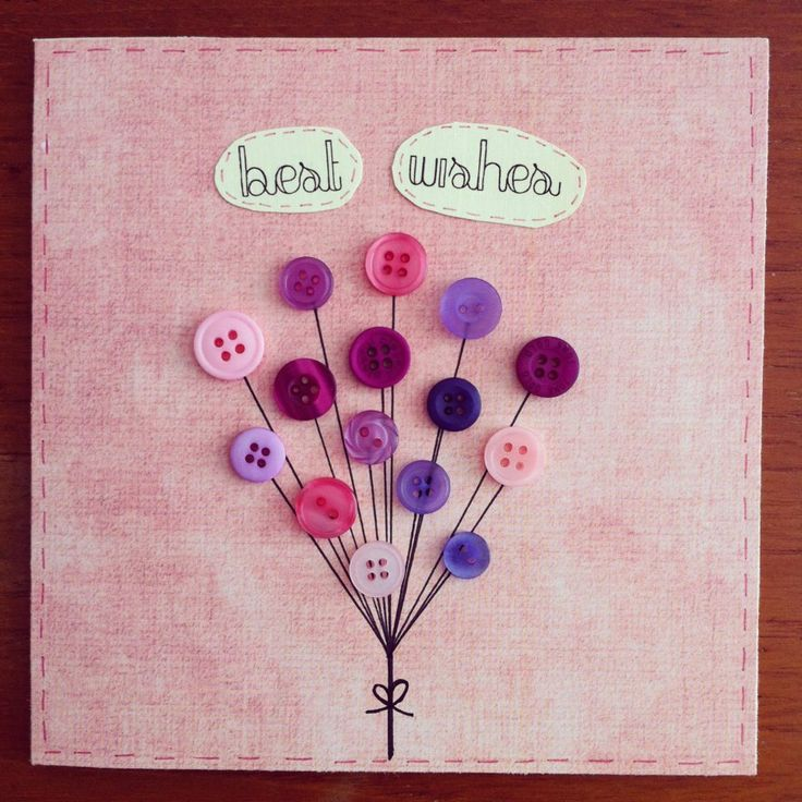 Handmade Greeting Card - Button Balloons - Best Wishes. £3.00, via Etsy.