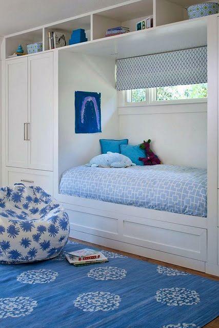 monochromatic blue color scheme for kids room