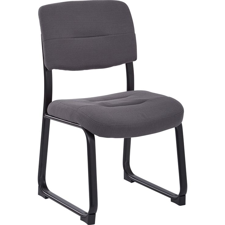 Work Smart Visitor Chair with Thick Padding & Sled Base, Woven Charcoal Fabric