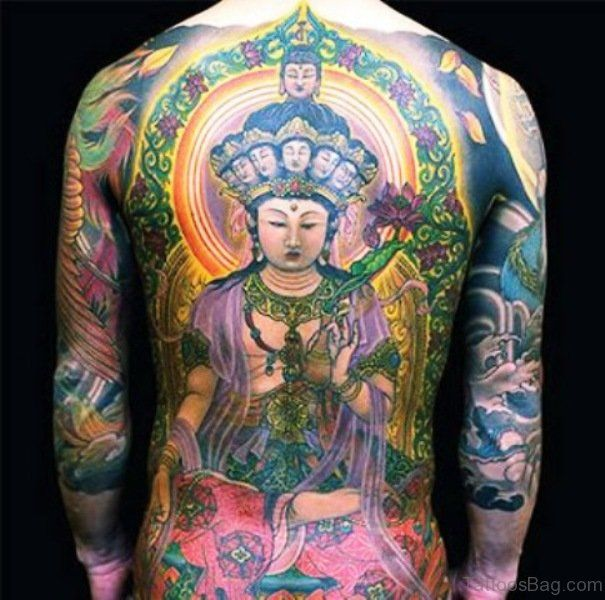 Colorful Buddha Tattoo On Back Buddha Tattoo Back Tattoo Buddha Tattoo Design