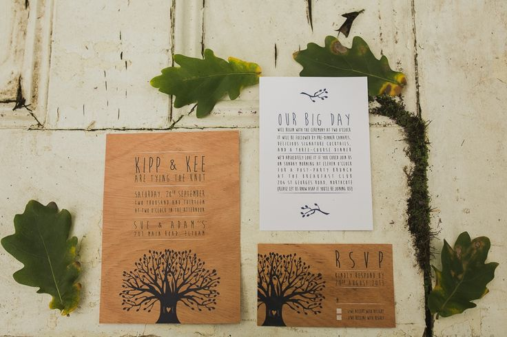 "Wooden wedding stationery by Cartamodello Papeterie | Woodland Elegance  |  F* Yeahs Styled Shoot | ""Carved Tree"" design printed in navy with white accents on 100% real mahogany (sliced thinly). #ecofriendly #environment #sustainable"