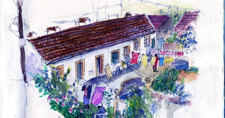 Urban Sketchers Portugal: Vila Valente, em Moscavide, de novo.