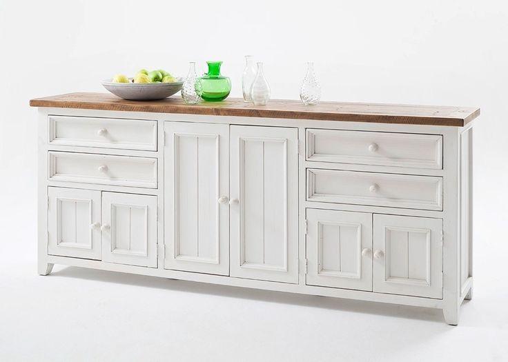 Sideboard Landhausstil Byron Massivholz Weiß 20592. Buy now at https://www.moebel-wohnbar.de/sideboard-landhausstil-byron-massivholz-weiss-20592.html