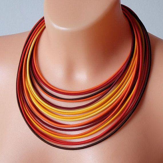COLORIKA jewellery, COLORIKA necklace, Orange jewelry set African necklace Tribal necklace