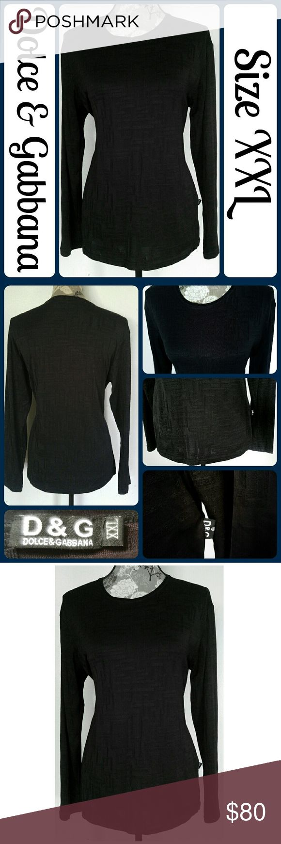 """Sz XXL Dolce & Gabbana Black Top So cute and perfect dressed up or down! Excellent condition, worn once! 95% Viscon, 5% Lycra, Across Bust 22"""", Length 26"""" from center back, Sleeve from armpit to end 19"""" No rips, tears, or stains.... From a smoke-free, dog friendly home, No trades and no off-site transactions! (T165) Dolce & Gabbana Tops Tees - Long Sleeve"""