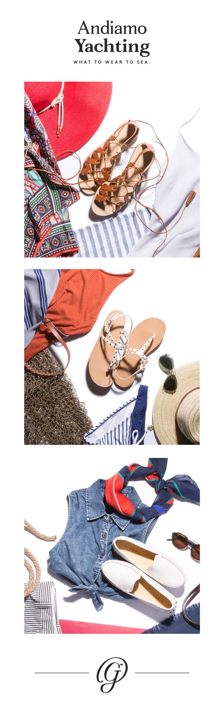 High-seas chic: nautical inspired sandals and moccasins look sharp on a boat and beyond.
