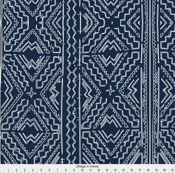 Navy Mudcloth Fabric African Mud Cloth Mudcloth Tribal