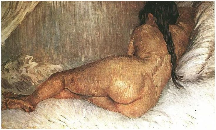 Nude Woman Reclining, Seen from the Back by Vincent Van Gogh - 336