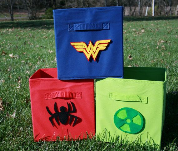 Individual Superhero Symbols for Storage Bins by InklingsStudio