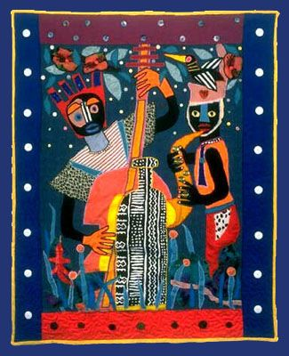Quilt commission made for Absolut Vodka ad series. House of Seagram collection: popular African Jazz quilt design
