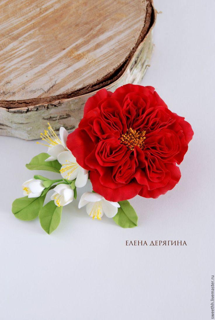 Купить Заколка для волос с красной английской розой - ярко-красный, заколка для волос, украшение для волос