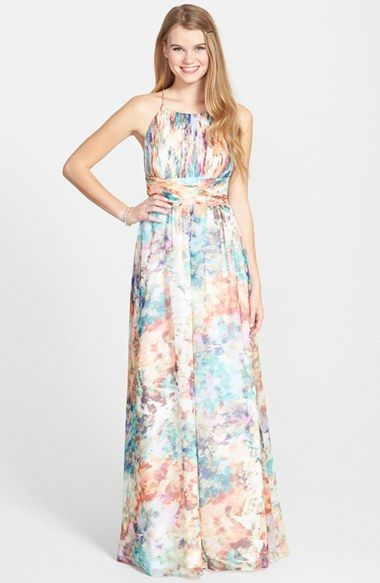 Aidan by Aidan Mattox Print Chiffon Fit & Flare Gown available at #Nordstrom