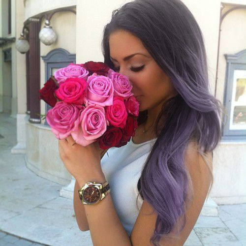 Purple pastel hair--wish I could pull off something like this! It's so different but so beautiful