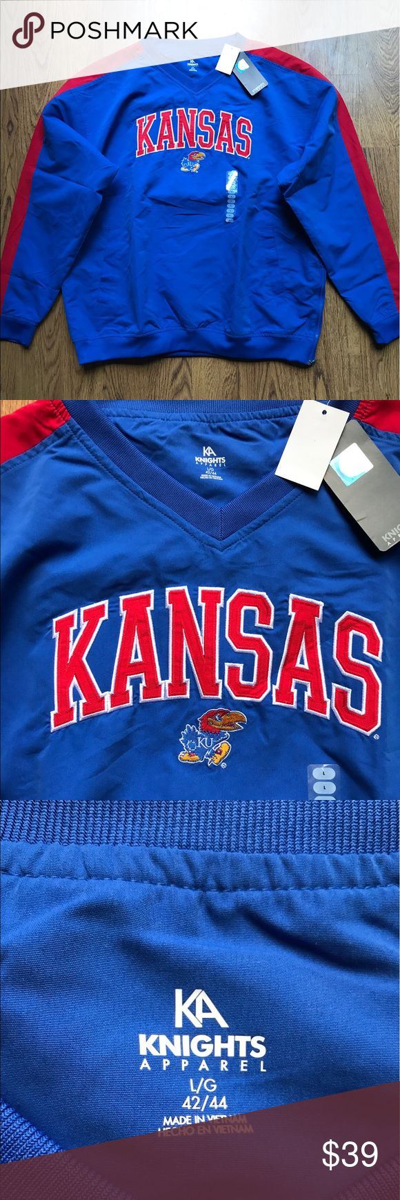 """Knights Apparel KSU Jayhawks Pullover Windbreaker Awesome Brand New Men's Knights Apparel Kansas State University KSU Jayhawks Pullover Windbreaker Sz L. See pics for further detail. This Pullover is in great condition    Measurements-  Armpit to Armpit: 25 1/2""""  Length (From Shoulder to bottom of Jacket): 28""""   For any and all questions or concerns please do not hesitate to reach out. We welcome and encourage all communication and will generally respond same day. knights Apparel Jackets…"""