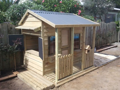 Cubby house i love the idea of chalkboard flaps on the for Building a wendy house from pallets