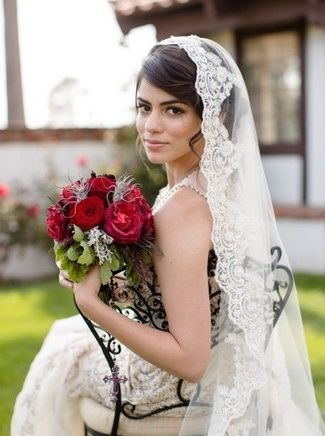 15 Wedding and Bridal Veils {Trendy Tuesday} | Confetti Daydreams - A beautiful beaded lace Spanish veil  ♥  ♥  ♥ LIKE US ON FB: www.facebook.com/confettidaydreams  ♥  ♥  ♥ #Wedding #WeddingVeils #BridalVeils #Veils