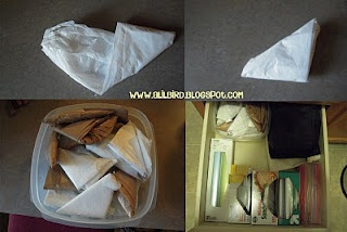 Folding up plastic bags (to save space) tutorial.