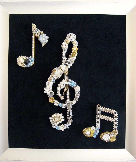 Music Notes Jewelry Mosaic Art Vintage Costume by ArtCreationsByCJ