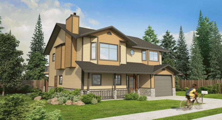 Plan No. 202008 - The big combination kitchen and nook provides ample space for family meals and the rear sundeck is easily accessed through sliding glass doors. The above ground basement has been carefully planned to allow for a suite with shared laundry facilities.