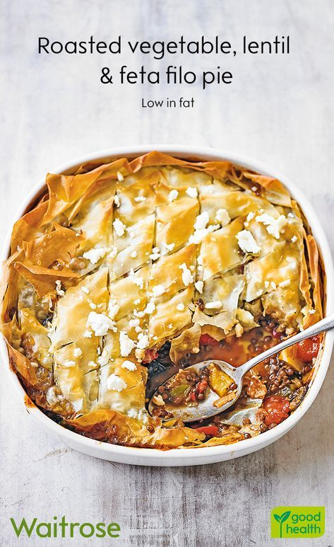 If you fancy a comforting dinner, our roasted vegetable, lentil and feta filo pi…   – Amazing recipes