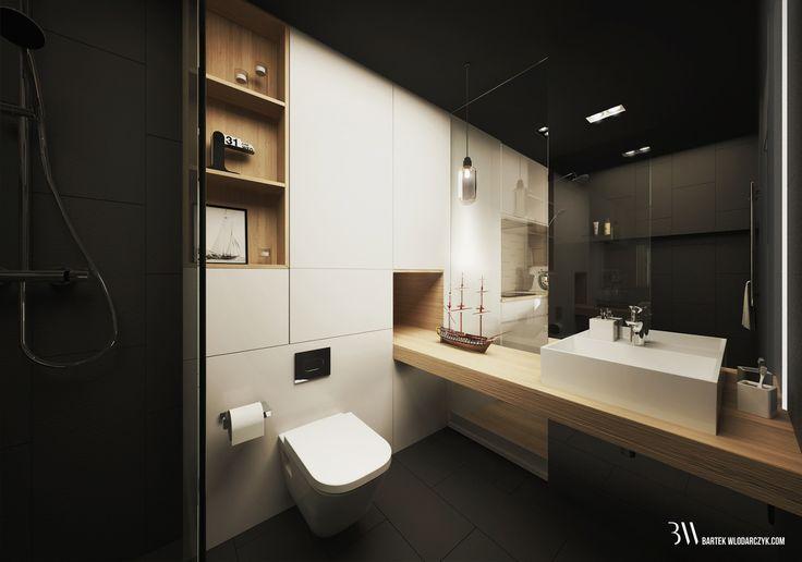 Apartament na osiedlu WIlno. Łazienka lustrem wielkoformatowym i taflą szkła oddzielającą od kuchni. www.bartekwlodarczyk.com