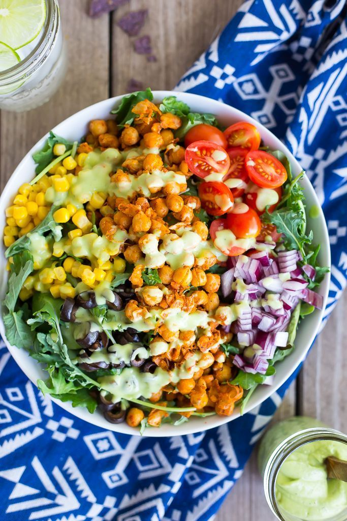 Seasoned Chickpea Taco Salad with Creamy Avocado Ranch Dressing!  Comes together in less than 30 minutes! vegan