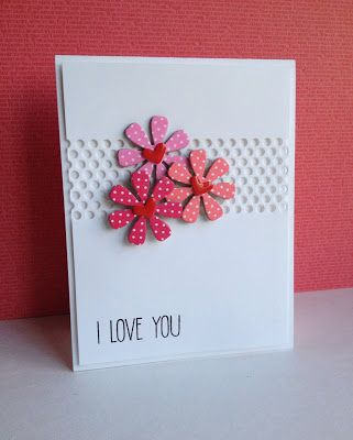 handmade Valentine card from I'm in Haven ... luf the die cut daisies with punched hearts in the center ... fun background panel with band of holes cut out ... clean and simple look ... great card!!