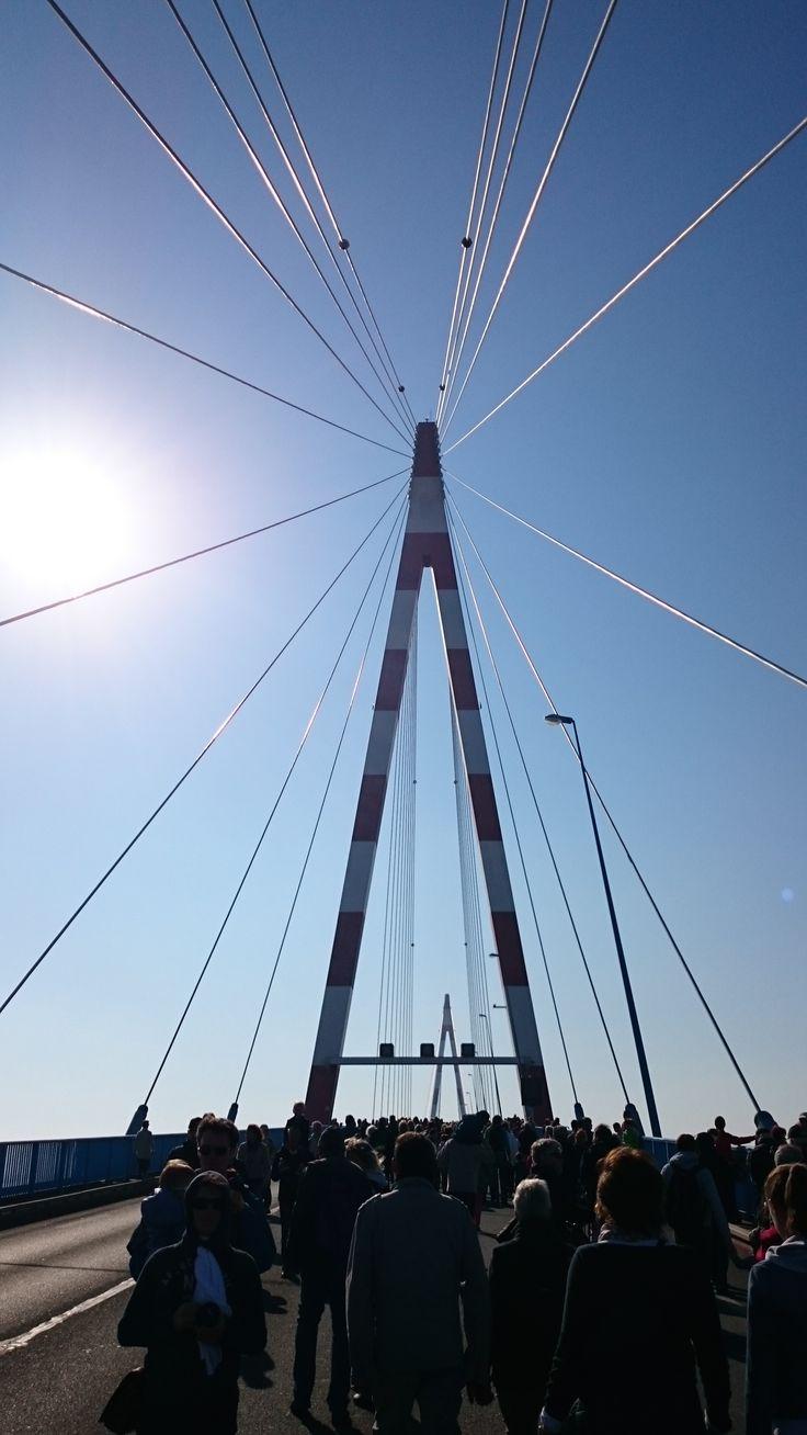 Le pont de Saint-Nazaire... à pied - Après 100 m... Vous êtes arrivé