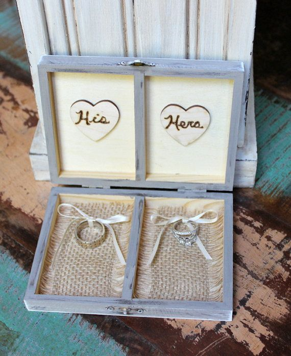 Ring Bearer Box Ring Pillow Rustic Burlap Wedding Personalized with Wood Heart (Your Color Choice)
