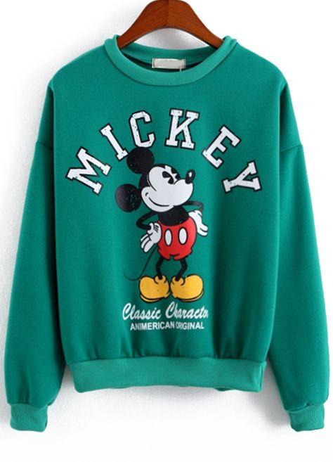 Sudadra Mickey manga larga-verde-Spanish SheIn(Sheinside)