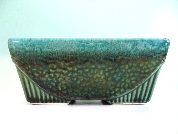 Vintage Planter Blue Green Rectangular USA 75 Pottery Rectangle Candy Dish Organizing by ByElleBee on Etsy