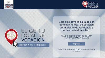 LIMA VAGA: ONPE: pasos para elegir lugar de votación