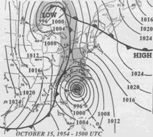 A system of very low pressure approaches the Carolinas. To the west is a cold front with an area of low pressure over northern Ontario, and to the northeast is an area of high pressure.  October 15 – Hurricane Hazel makes U.S. landfall; it is the only recorded Category 4 hurricane to strike as far north as North Carolina.