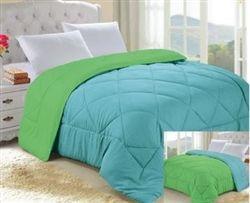 Caribbean Ocean/Lime Green Reversible College Comforter