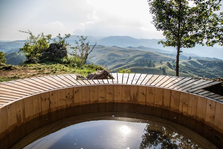 """After beating the hiking tracks around us, you are welcome to savour the peace at """"Căldarea Vrăjitoarelor"""", the hot tub under the stars! Raven's Nest, the hidden village. #guesthouses #transylvania #romania #wildlife #authenticlife #ravenhiddenvillage #traditionalhouse"""