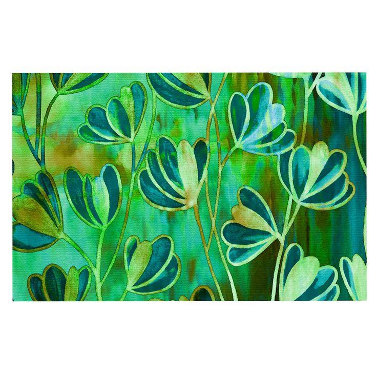 """Ebi Emporium """"Effloresence - Blue Green"""" Teal Green Decorative Door Mat"""