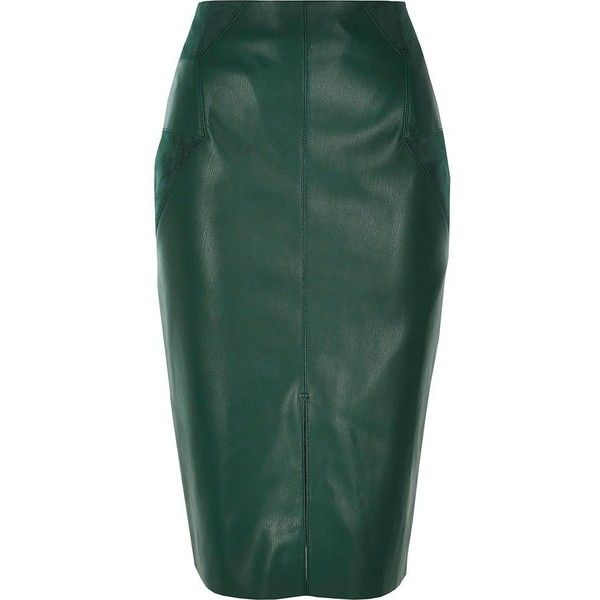 River Island Dark green leather look pencil skirt ($43) ❤ liked on Polyvore featuring skirts, green, knee length pencil skirt, midi pencil skirt, mid calf skirts, pencil skirt and vegan leather pencil skirt