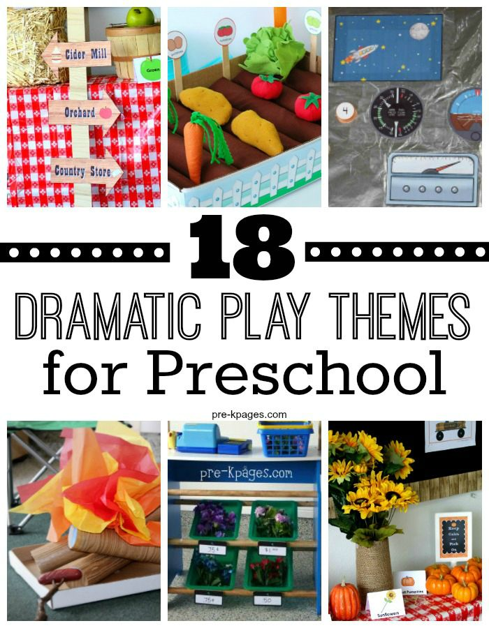 18 Dramatic Play Themes for Preschool. Easily add literacy, math, and writing into your pretend play center with these fun themes! Your kids will be so busy having fun they won't even know they're learning!