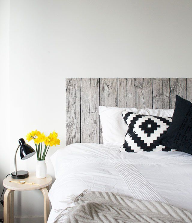 "use wood-print fabric to make a soft ""wooden"" headboard."