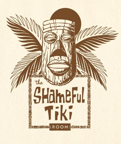 The Shameful Tiki Room logo, by Fancypants Design Co.  http://fancypants-design.com    #tiki #logo #vancouver #retro #illustration #tikiroom #polynesian #hawaiian #vintage