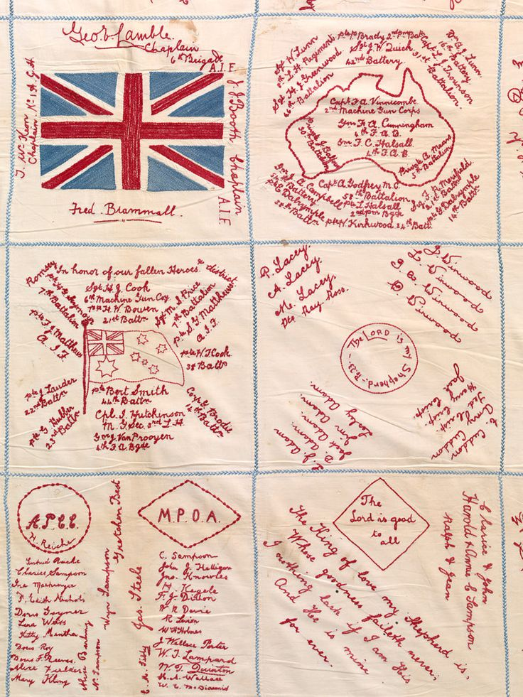 'Romsey quilt', c. 1916–18 (detail) by unknown artist, calico, cotton (thread), 152 x 192.4 cm. Collection of Australian Red Cross, Melbourne.