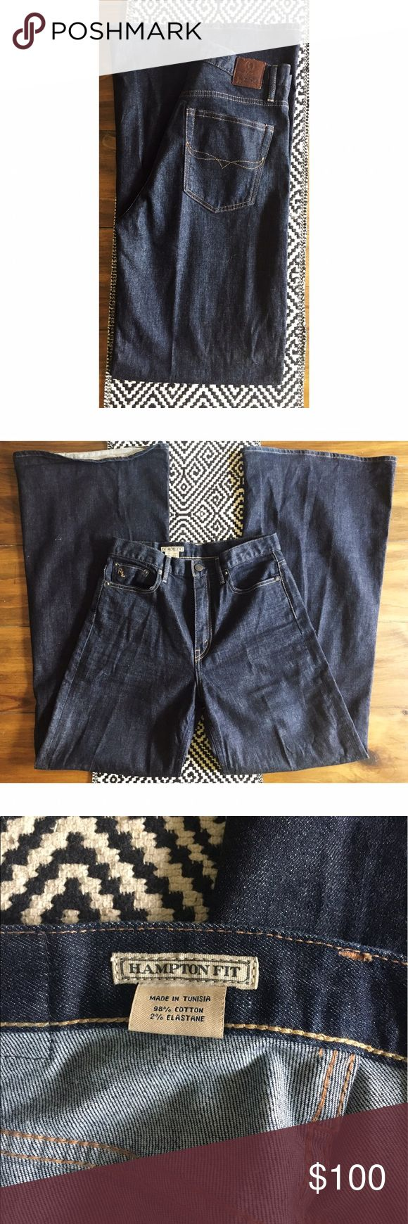 "Ralph Lauren High Rise Wide Leg Denim Trousers Measurements taken flat: 12"" rise, 15"" waist, 33.5"" inseam, leg opening at bottom 13"", leg opening right below crotch seam 11.25"". In perfect like new condition. Worn once. Dark wash high waisted Ralph Lauren Jeans Flare & Wide Leg"