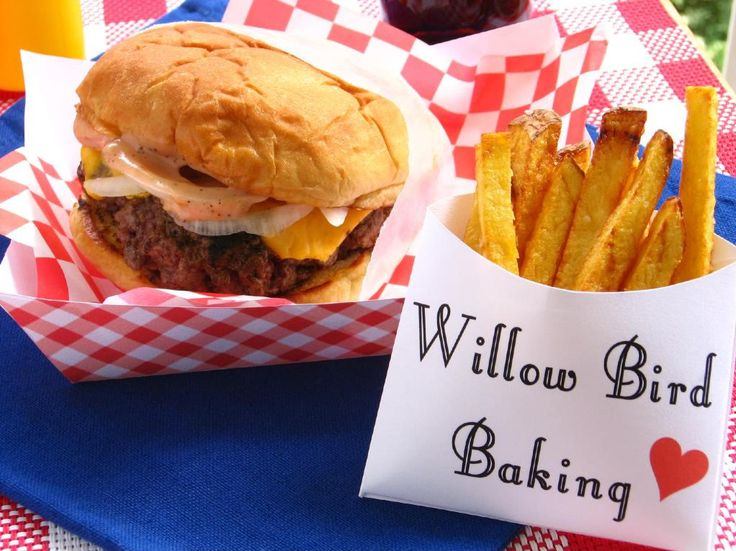Old-Fashioned Burger Stand Burgers & Easy French Fries > Willow Bird Baking.  Pinned this for the sauce recipes.